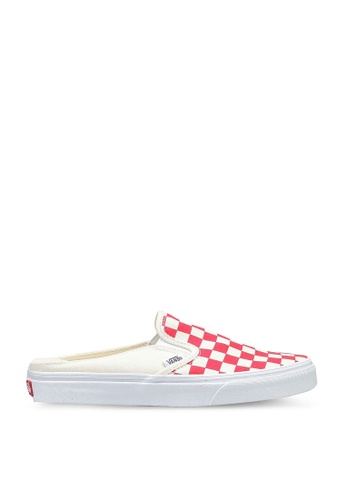 VANS white and red Classic Slip-On Mule Checkerboard Sneakers 9044ASH9C4AF13GS_1