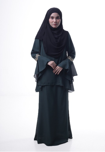 Denai Boutique green Baju Kurung Esra ADDD4AA5265A9AGS_1