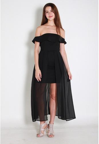 Leline Style black Mila OffShoulder Dress LE802AA0FJELSG_1