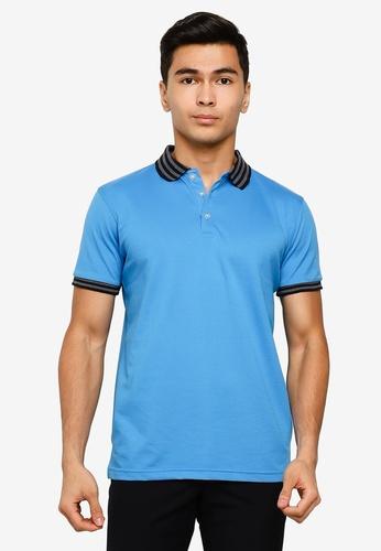 UniqTee blue Slim Fit Bomber Stripe Polo Tee 3B752AA6728EE4GS_1