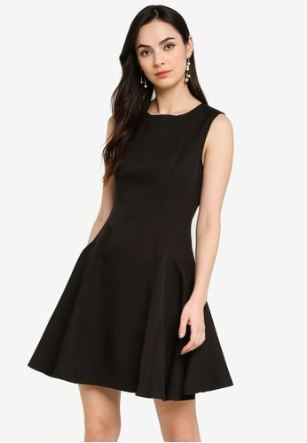 ZALORA WORK black Inverted Pleat Fit & Flare Dress 1FD46AAF23AE5BGS_1