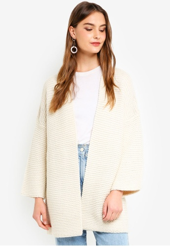 French Connection white Hildred Knits 3/4 Sleeve Cardigan 7B933AADF400DEGS_1