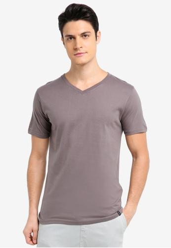 Factorie grey The Legacy Vee T-Shirt 22CECAA6F4B688GS_1