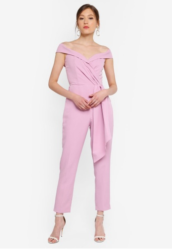 Lavish Alice purple Pleated Bardot And Draped Belt Tailored Jumpsuit F7CB1AA4E56706GS_1