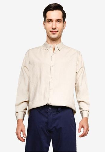 Cotton On beige Linen Cotton Long Sleeve Shirt 0592DAA62840E6GS_1