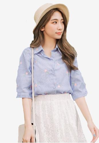 Eyescream blue Embroidery Florals Shirt 6947EAA1A5B4B6GS_1