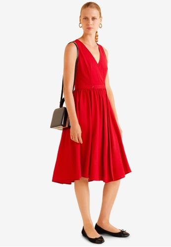 Mango red Fluted Hem Dress 0275DAA78EC81FGS_1