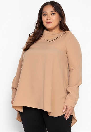 Kris Curve green Plus Size Katherine Folded Neck With Button Opening On Shoulder Top ACC46AAAADD3B0GS_1