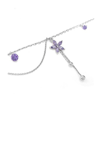 Glamorousky purple Elegant Flower Anklet with Purple Austrian Element Crystals 3A0A7AC5503700GS_1