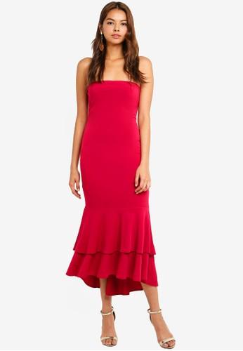 Preen & Proper red Bodycon Dress With Circular Ruffle Hem 0F352AA9E7B213GS_1