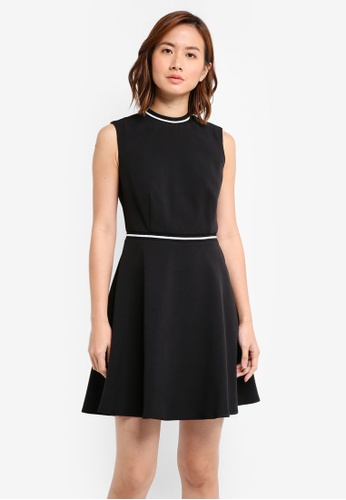 ZALORA black Rib Trim Sleeveless Skater Dress 6EC2AAAC89FB0FGS_1