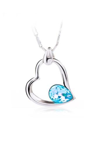 OUXI blue OUXI Fancy Heart Necklace (Aquamarine) OU821AC60KATMY_1
