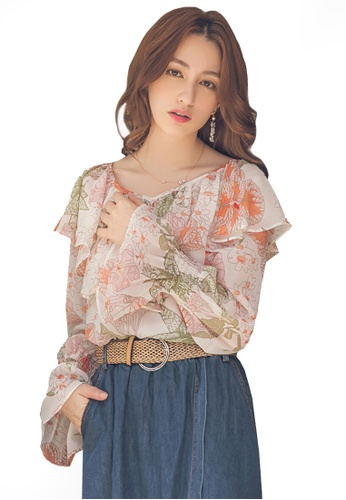 Yoco white Ruffle Trim Floral Long Sleeve Top E0691AADA56006GS_1