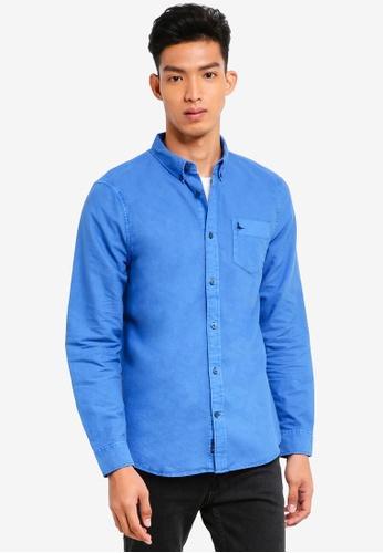 Jack Wills 藍色 長袖刺繡牛津襯衫 ECA40AADE5F695GS_1