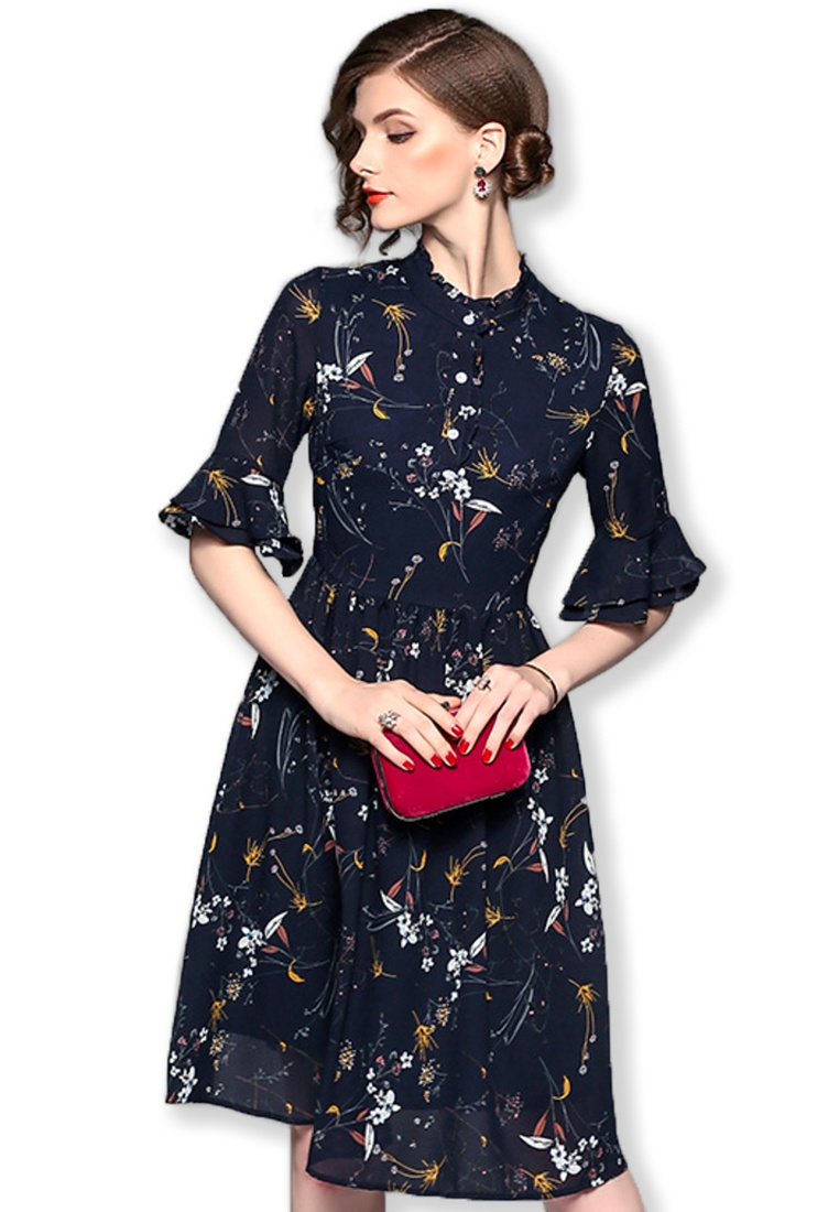 Floral Piece Dress Sunnydaysweety W One multi F Mid A092719 2017 Sleeves Chiffon Flare WUIfAa