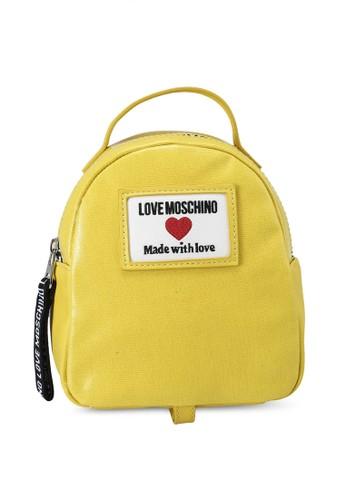 Love Moschino yellow Canvas Logo Backpack 6FCD2ACFC909ECGS_1
