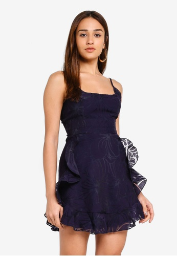 INDIKAH navy Square Neck Spaghetti Strap Ruffle Trim Dress 4941AAAB87E836GS_1