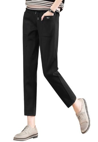 A-IN GIRLS black Elastic Waist Plus Velvet Casual Pants 341EFAAAEFDCB4GS_1