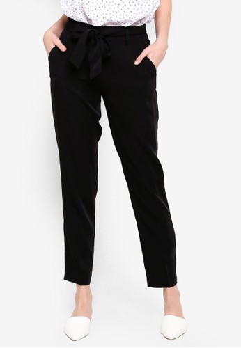 FORCAST black Christa Tie Waist Pants DBF85AA9F1F3E3GS_1