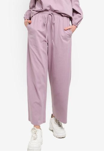 Lubna 紫色 針織休閒褲 0E3FDAAC39421DGS_1