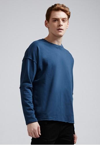 率性街頭。高磅刷毛。落肩不收邊圓領T-MIzalora 手錶 評價T-03735-深藍, 服飾, 長袖T恤