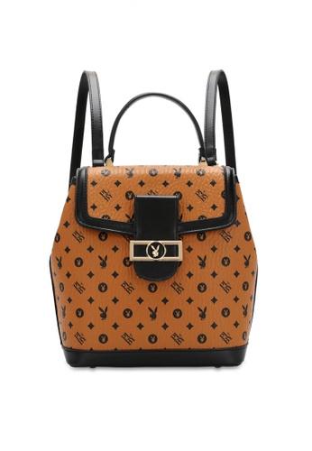 PLAYBOY BUNNY brown Women's Monogram Printed Backpack E7289ACD0CD9ECGS_1