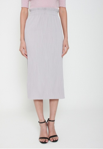 Sophialuv grey As You Pleat Midi Skirt in Grey 2E260AACD9C596GS_1