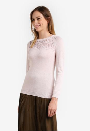 Wallis pink Petite Blush Lace Yoke Jumper WA800AA0RU8RMY_1