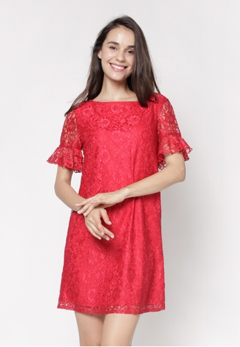 Nicole Exclusives red A-Line Dress 7BAD4AAF124E80GS_1