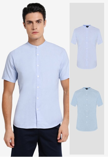 ZALORA blue 2 Pack Slim Fit Mandarin Collar Oxford Short Sleeve Shirt ZA819AA0T28TMY_1