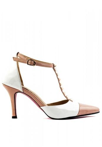 M&G beige Donatelle Rockstud Heels by M&G 9B236SHF1370A5GS_1