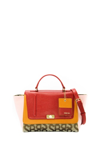 SEMBONIA red SEMBONIA Jacquard Trimmed Leather Satchel Bag (Red) 38553ACAA4E094GS_1