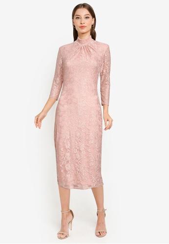 Goddiva pink High Collar Lace Midi Bodycon Dress 116DBAA2E953E4GS_1
