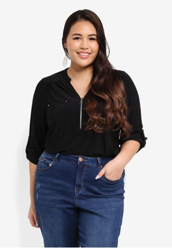 Dorothy Perkins black Plus Size Black Zip Jersey Shirt CDD85AA1C819C9GS_1