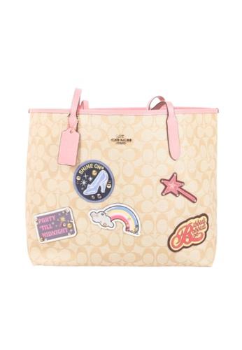 Coach brown Coach X Disney Signature City C3724 Tote Bag With Patches In Light Khaki Multi 44B64AC6DE8CD8GS_1
