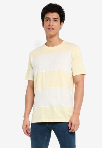 MANGO Man 黃色 短袖條紋T恤 9C3D4AAE8E9AF0GS_1