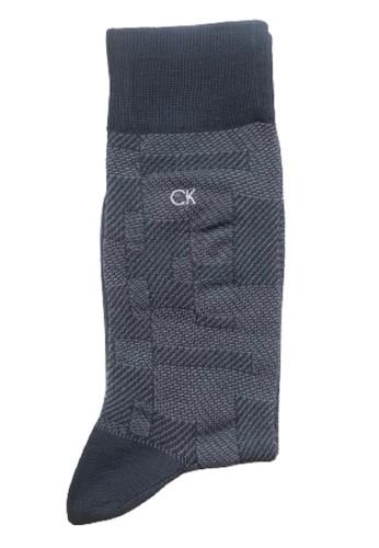 Calvin Klein Socks grey CALVIN KLEIN Business Men Sock Dress Abstract Grid 8229AAA75B7055GS_1