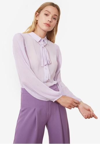 Trendyol purple Tie Collar Detail Shirt 73438AAA9114C2GS_1