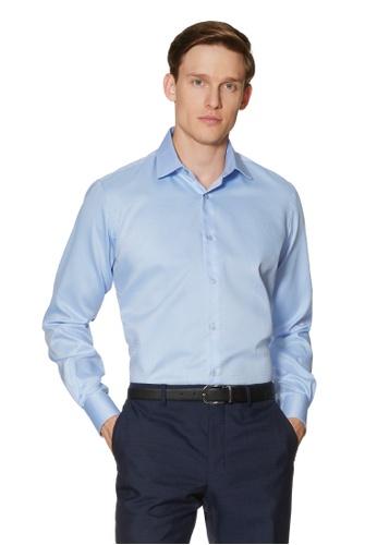 T.M. LEWIN blue T.M.Lewin Circle Dobby Blue Single Cuff Shirt 25284AA03F6976GS_1