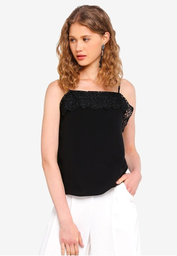 MDSCollections black Lace-Trimmed Cami Top In Black E0580AA6622154GS_1