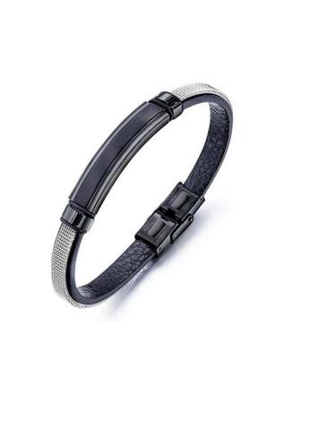 ADORA black Stainless Steel Leather Bracelet 8DA3DAC0EBAB55GS_1