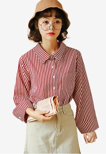 Shopsfashion red Flare Sleeve Shirt C35F1AAE21DFA4GS_1