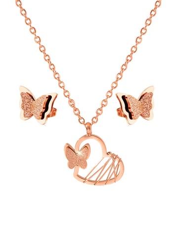CELOVIS gold CELOVIS - McQueen Butterfly Paired with Queen Alexandra Butterfly Earrings Jewellery Set DF2ADAC8DFC884GS_1