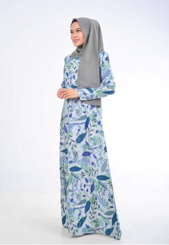 Assie Modesty green and blue and multi Rhapsody A-Cut Dress 051B3AAA2B629FGS_1