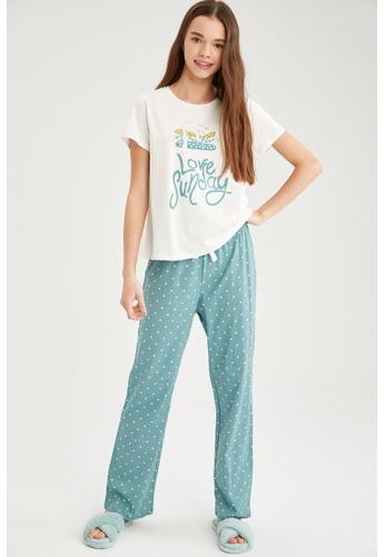 DeFacto green Woman 2-pieces Homewear Top & Bottom Set 9E639AAE817E40GS_1