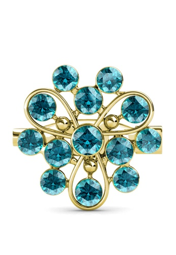 Her Jewellery blue and gold Vanda Brooch (Light Turquoise) - Made with premium grade crystals from Austria FB5B9AC68714C5GS_1