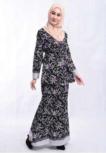BATIK HOUSE KEBAYA DUYUNG SET BHKSD02-013 (BLACK/PURPLE) from batik house my in Black and Purple