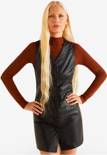 Mango black Leather Dress 5DCA0AA1C6ED0CGS_1