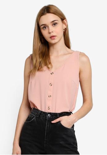 Vero Moda 粉紅色 V領上衣 BDF0FAA0B38E54GS_1