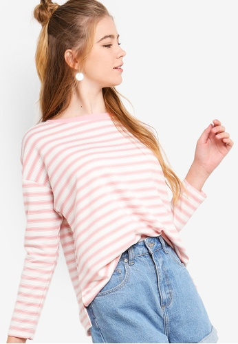 Something Borrowed white and pink Long Sleeves Drop Shoulder Top 7D961AA0C11DD2GS_1
